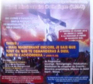 L'affiche annonçant la méditation du chapelet du Crucifié Crédit photo : Christ Koffi
