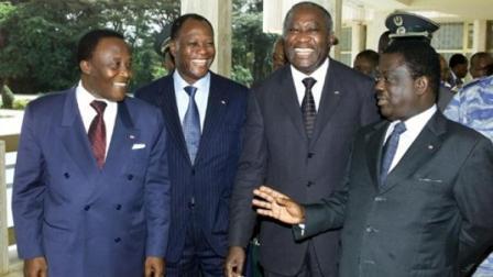 De gauche à droite : Robert Gueï, Alassane Ouattara, Laurent Gbagbo et Henri Konan Bédié Crédit photo rfi.fr